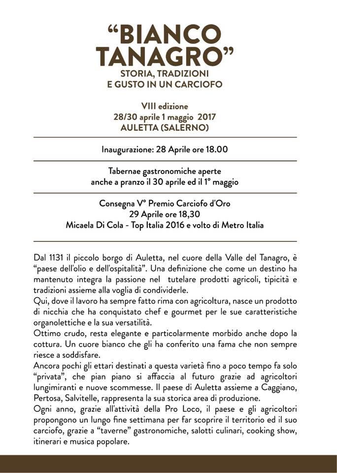 Bianco Tanagro - programma